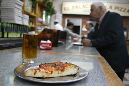 Pizza and beer in Buenos Aires