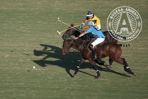 Polo players on horses crossing sticks