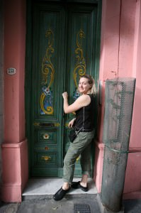 Woman outside Buenos Aires apartment