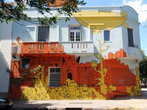 Buenos Aires Street Art - yellow jet-powered whale