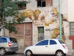 Buenos Aires Street Art - works by Jaz feature Lucha Libre Mexican wrestlers