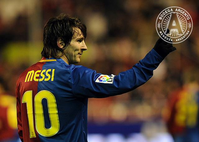 Barcelona's Lionel Andres Messi celebrates after scoring his second goal against Sevilla during their Spanish league football match at Sanchez Pizjuan stadium in Seville, on November 29, 2008. The match ended 0-3.AFP PHOTO / CRISTINA QUICLER (Photo credit should read CRISTINA QUICLER/AFP/Getty Images)