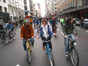 Corrientes full of bikes Buenos Aires