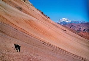 Climbing Aconcagua on scree