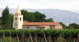 A church in a vineyard in Cafayate, Salta, Argentina