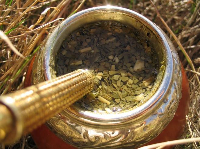 Yerba mate tea in a gourd