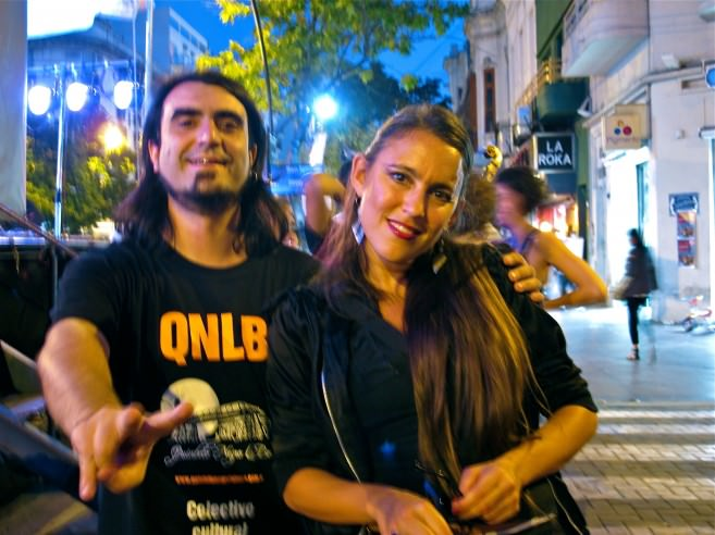 A quick moment back stage with bandoneonist Pablo Bernaba and hip hop artist Malena D'Alessio from Quinteto Negro La Boca.