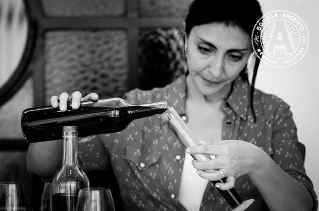Winemaker Silvia Corti blending Malbec at Bodega Argento