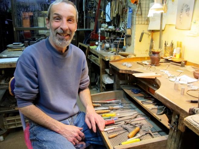 Daniel at his workbench - where the magic happens. Ph Sonja D'cruze